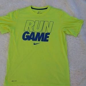 Nike Dri-FIT highlighter green run game Tee